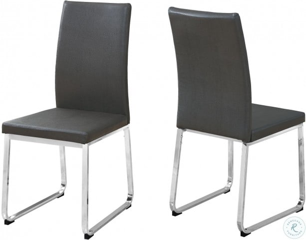 Gray Faux Leather And Chrome Dining Chair Set Of 2 From Monarch Coleman Furniture