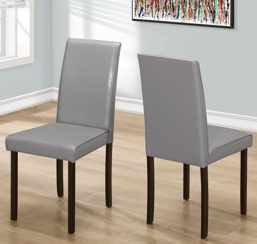 "Gray Leather 36"" Dining Chair Set of 2"