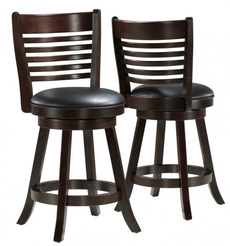 """1284 Cappuccino Solid Wood 38"""" Swivel Counter Stool Set of 2"""