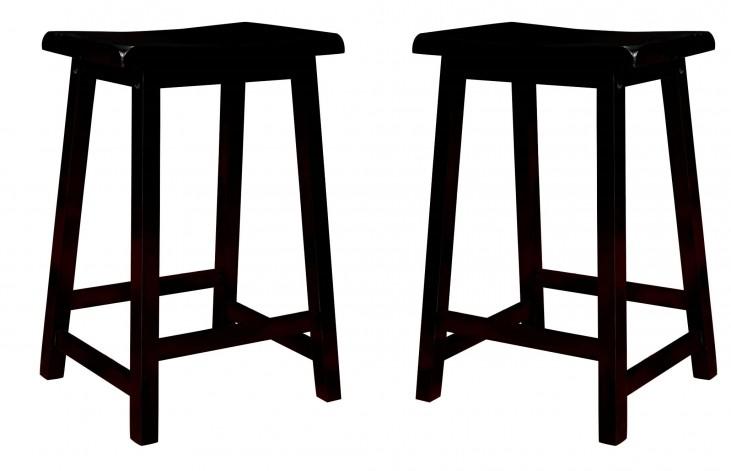 """1531 Black 24"""" Saddle Seat Barstools Set of 2"""
