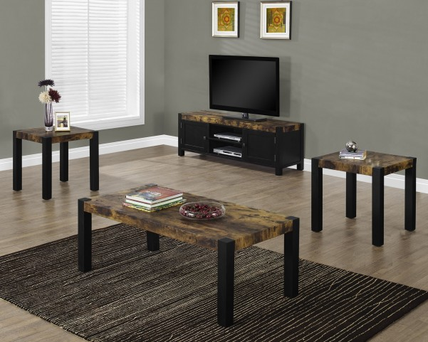3 Piece Distressed Black Table Set