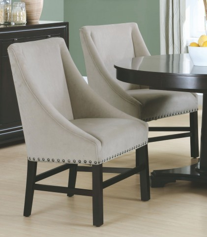 "Taupe Velvet 38"" Dining Chair Set of 2"
