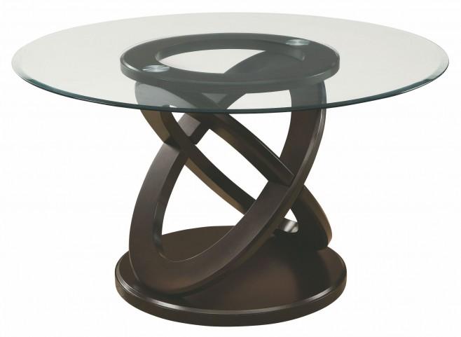 "Dark Espresso 48"" Diameter Tempered Glass Dining Table"