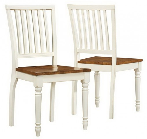 1839 Antique White / Oak Side Chair Set of 2