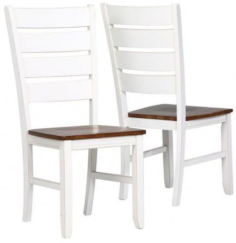 "Antique White/Oak 40"" Side Chair Set of 2"