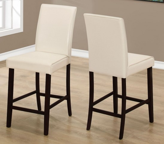 Ivory Leather Counter Height Dining Chair Set of 2