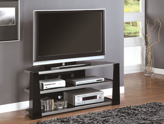 "2010 Glossy Black / Silver Metal 48"" TV Console"