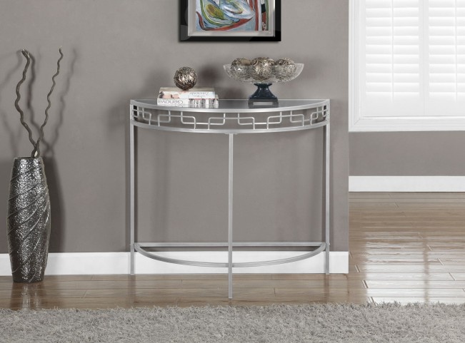 Silver Metal Hall Console Accent Table