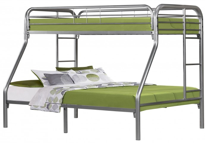 Silver Metal Twin Over Full Bunk Bed