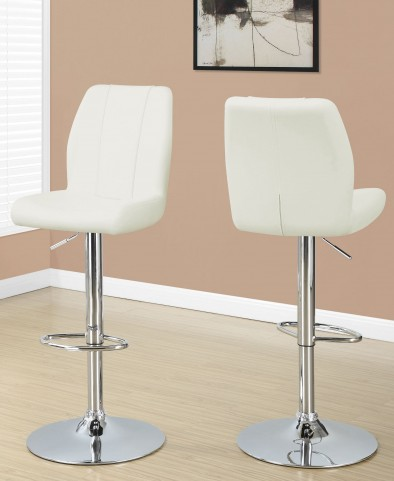White Metal Hydraulic Lift Barstool Set of 2