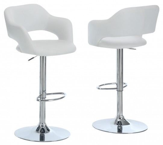 2358 White / Chrome Metal Hydraulic Lift Barstool