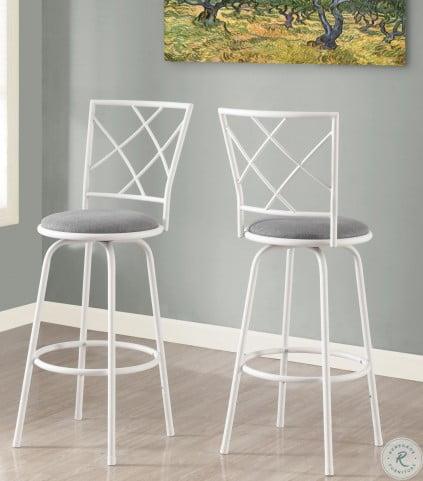 Gray Fabric Seat Bar Stool Set of 2