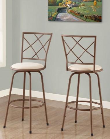 Beige Fabric Seat Barstool Set of 2