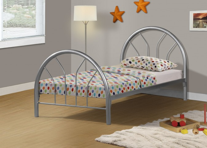 2389S Silver Metal Twin Bed Frame