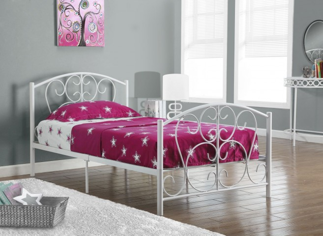 White Metal Twin Size Bed Frame