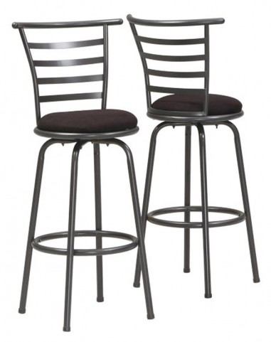 "2396 Silver Grey Metal 43"" Swivel Barstool Set of 2"