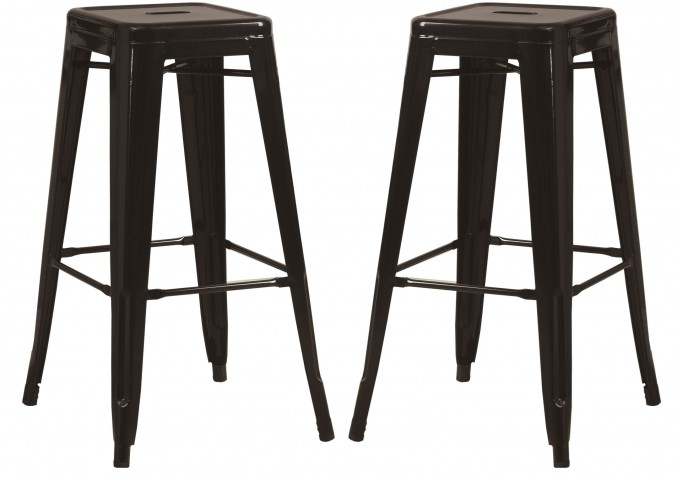 "2401 Black Glossy Metal 30"" Cafe Barstool Set of 2"