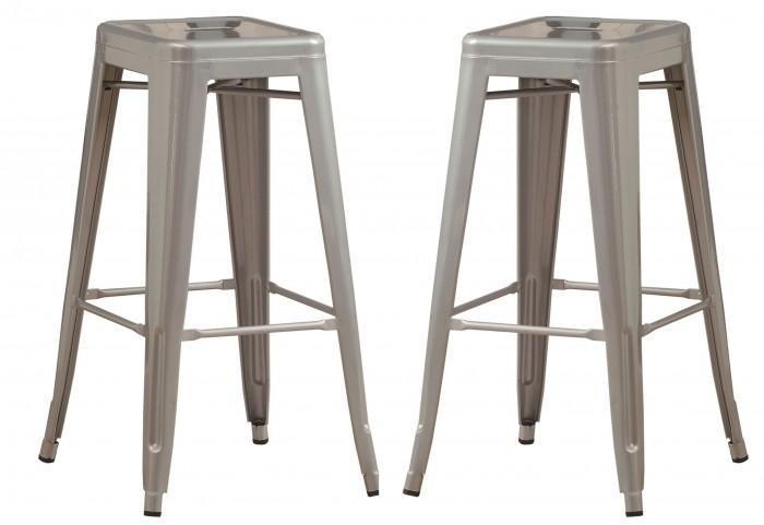 "2402 Silver Galvanized Metal 30"" Cafe Barstool Set of 2"