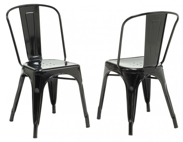 2411 Black Glossy Metal Side Chair Set of 2