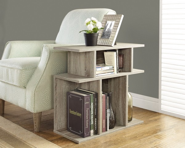 """Dark Taupe Reclaimed-Look 24"""" Accent Side Table"""