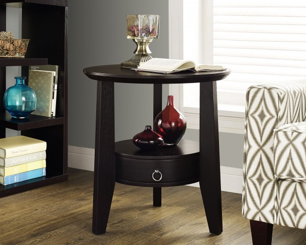 "Cappuccino 23"" Diameter 1 Drawer Accent Table"