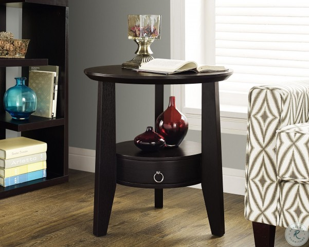 """Cappuccino 23"""" Diameter 1 Drawer Accent Table"""
