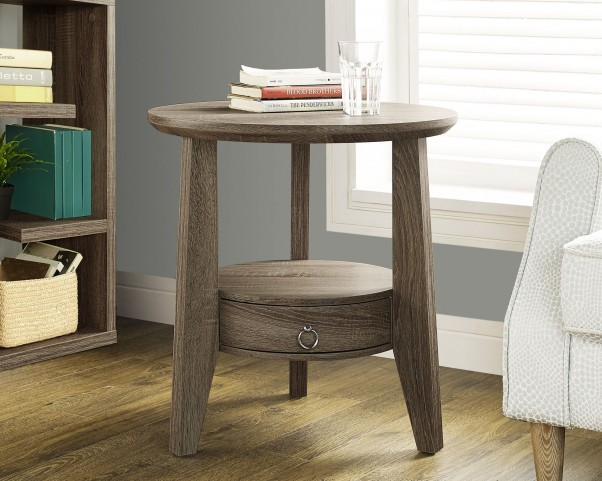 """Dark Taupe Reclaimed-Look 23"""" Diameter 1 Drawer Accent Table"""