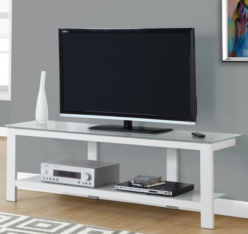 "White Frosted Tempered Glass 60"" Tv Stand"