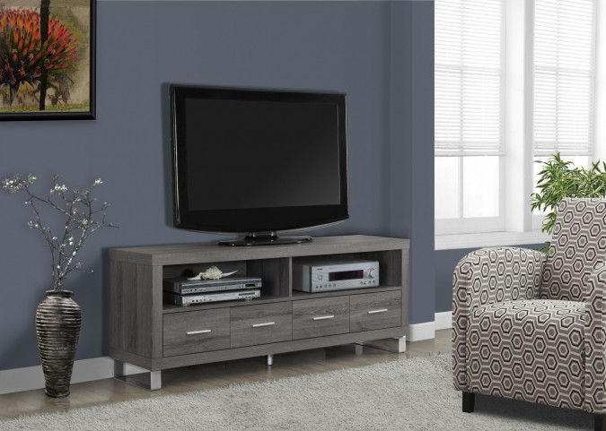 Dark Taupe Reclaimed-Look 4 Drawers TV Console
