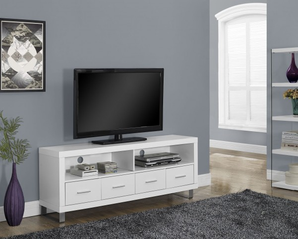 White Hollow-Core 4 Drawers TV Console