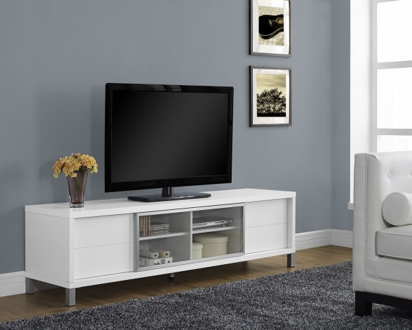 White Hollow-Core Euro TV Console