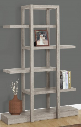 """Dark Taupe Open Concept 71"""" Display Bookcase"""