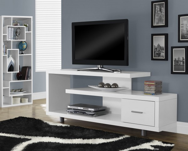 White Hollow-Core TV Console wiht 1 Closed Storage Drawer