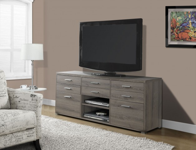 Dark Taupe Reclaimed-Look 8 Drawers TV Console