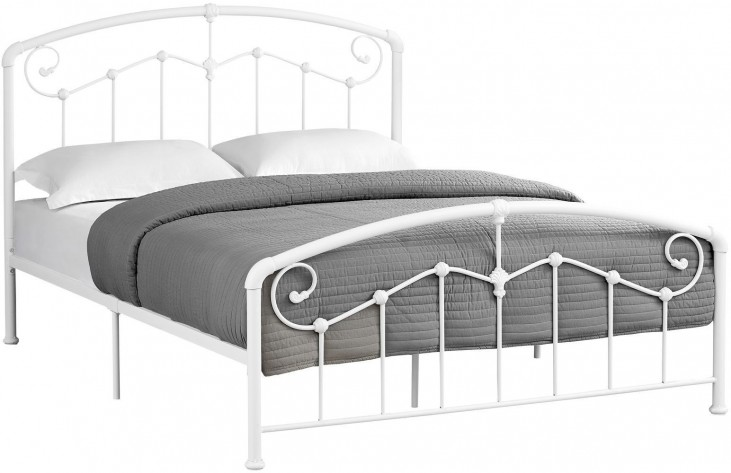 White Metal Bed Queen: 2645Q White Metal Queen Panel Bed From Monarch