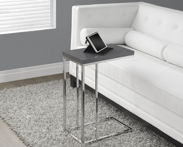 Glossy Gray Hollow-Core/Chrome Metal Accent Table