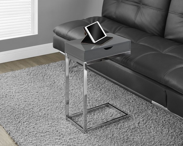 Glossy Hollow-Core/Chrome Metal Accent Table