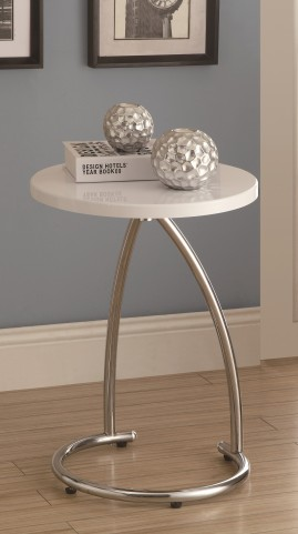 3035 Glossy White / Chrome Metal Accent Table