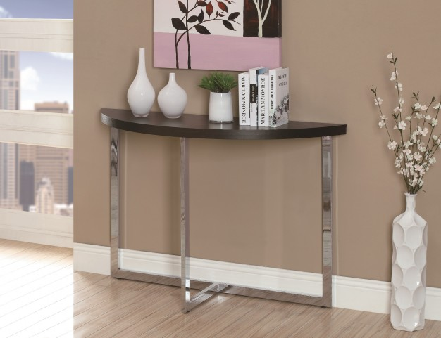 3039 Cappuccino / Chrome Metal Sofa Console Table