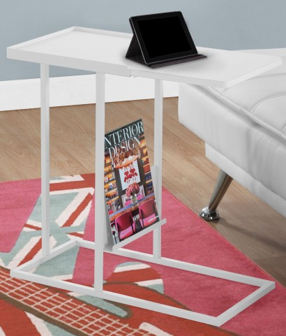 3098 White Metal Accent Table