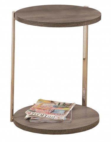 3252 Dark Taupe / Chrome Metal Accent Table