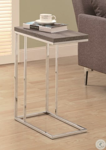 3253 Dark Taupe / Chrome Metal Accent Table