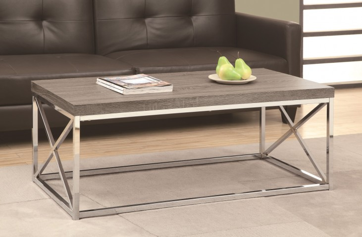 3258 Dark Taupe / Chrome Cocktail Table