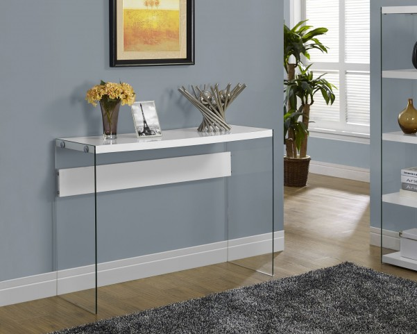 Glossy White Hollow-Core Sofa Table