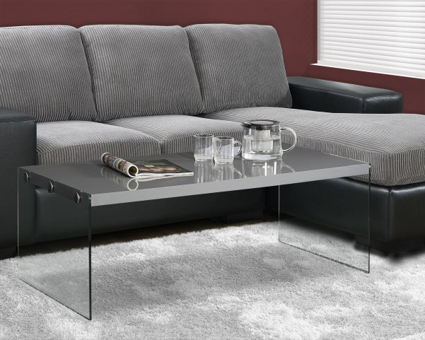 Glossy gray Hollow-Core Cocktail Table