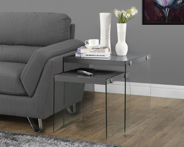 2 Piece Glossy gray Nesting Table Set