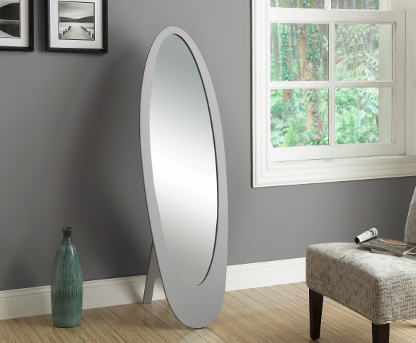 3359 Grey Oval Cheval Mirror