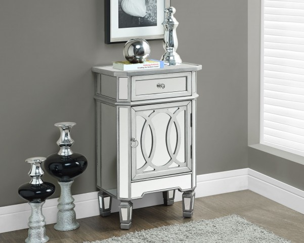 "Brushed Silver 29"" 1 Drawer Mirrored Accent Table"