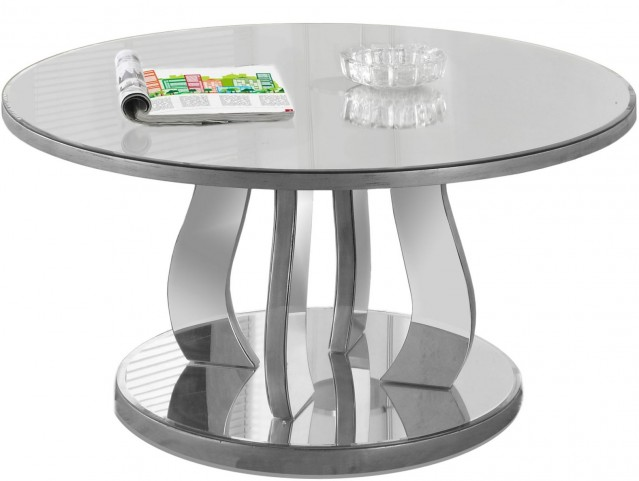"""Brushed Silver Mirror 36"""" Coffee Table"""
