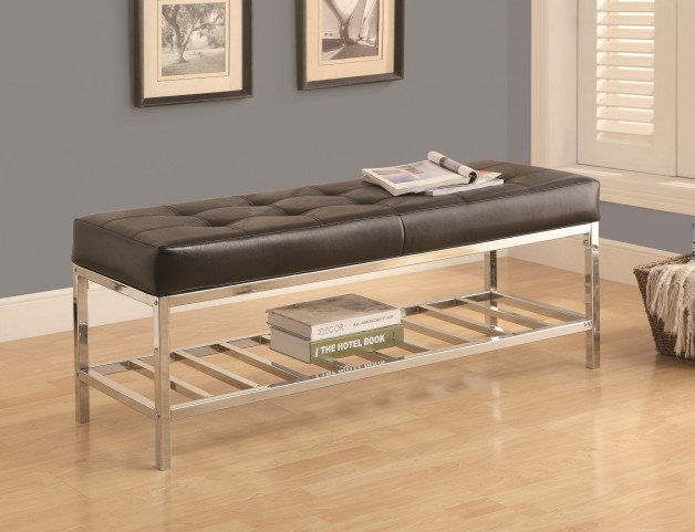 4535 Black Leather-Look / Chrome Metal Bench
